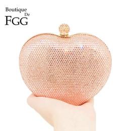 Boutique De FGG Champange Кристалл женщины сердце металл Minaudiere сумочка вечерняя сумка свадьба Алмаз кошелек Свадебная вечеринка клатч от