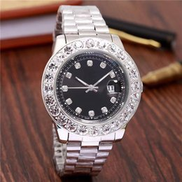 Wholesale Men Green Diamond Watches - 2018 relogio Luxury Mens Brand Men Watch Big Diamonds Day-Date Brand Stainless Steel Perpetual President Automatic Diamond Wristwatch Watche