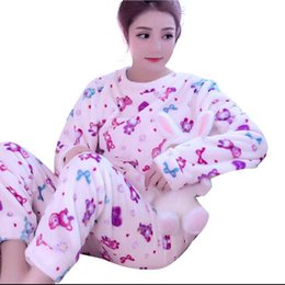 Wholesale Korean Sleepwear - Women's Pyjamas Long Sleeve Warm Sleepwear Autumn Winter Korean Cute Pajama Sets Pijama Mujer Home Clothes Girls Nightgown