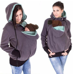 Wholesale Winter Pregnancy Fashion - 2017 Winter Women Baby Carrier Jacket Kangaroo hoodie Maternity Outerwear for Pregnant Thickened Pregnancy Baby Wearing Coat