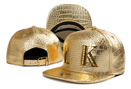 Wholesale lk leather - Leather snapback cap hats last kings full leather caps fashion Gold LK logo cap bronze color cayler sons LK leather hats for men women