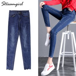 Jeans ajustados para mujer online-Streamgirl Skinny Jeans Mujer Denim Tight Blue Light Irregular Ladies Pantalones elásticos Jeans para mujer Stretch Jean Femme 2018