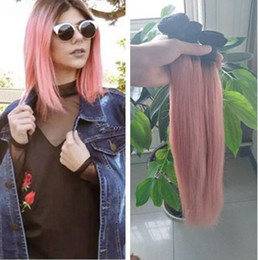 Wholesale Gold Hair Tone - Ombre 1B Rose Gold Silky Straight Human Hair Bundles Two Tone Ombre Pink Brazilian Virgin Hair Extension