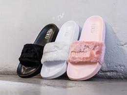 chaussures femmes mode rose Promotion 2017 Leadcat Fenty Rihanna Chaussures pour Femmes Pantoufles Sandales À L'intérieur Filles Fashion Scuffs Rose Rose Gris Fourrure Diapositives Star SWith Chaussures