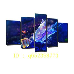 Wholesale Underwater Paint - Fish,jelly Underwater,5 Pieces HD Canvas Printing New Home Decoration Art Painting  Unframed   Framed