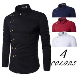 Wholesale men s double collar shirts - 2018 New Men 'S Brand Shirt Fashion Casual Double Breasted Long Sleeve Shirt European Style Men 'S Dress Shirt Camisa Masculina