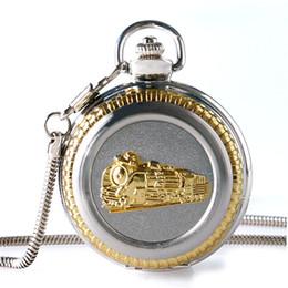 scultura d'epoca Sconti Orologio da tasca in acciaio pieno di lusso Golden Locomotiva solido Scultura catena pendente di spessore Vintage orologio da treno Regali unici per la famiglia