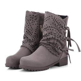 Pantalones cortos de med online-Tamaño 33-40 Zapatos de invierno Mujer Med Tacón Medio Botas cortas Mujer Gladiador Cremallera Corto Felpa Interior Cálido Invierno Botas