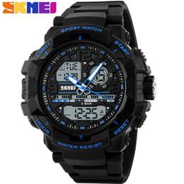 мужские спортивные цифровые светодиодные часы Скидка SKMEI  Fashion Mens Digital LED Display Sport Quartz Watch Relogio Masculino 50m Waterproof Wristwatches Men Sports Watches