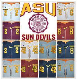 Wholesale Foster Jerseys - NEW NCAA Arizona State Sun Devils College Mike Bercovici 2 Pat Tillman 42 D.J. Foster 8 Football Jersey jerseys HOT SALE CHEAP FOOTBALL