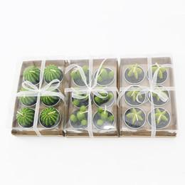 Cera di candele verdi online-6PCS / set Decorazioni per la casa Cactus Candle Table Tea Light Garden Mini Cera Candele verdi per la decorazione di compleanno di nozze