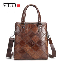 Wholesale First Zipper Made - AETOO Men's first layer of leather hand-made vertical section of business briefcase fashion shoulder bag