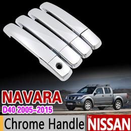 cromo nissan guarnições Desconto Atacado para Nissan NAVARA D40 2005-2015 Chrome Handle Cover Guarnição para Suzuki Equator Frontier Brute 2007 2010 Acessórios Car Styling