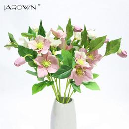 teste di rose artificiali Sconti 3 rami di teste Fiori artificiali di seta Decorazione Fiori artificiali freschi Rose in lattice per decorazione bouquet da sposa