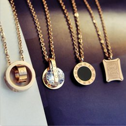 Wholesale Party Japan - Titanium steel necklace female fade pink gold clavicle chain Japan and South Korea minimalist short accessories accessories tide pendant