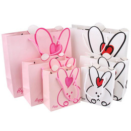 Wholesale Gift Wrapping Paper Cartoon - Rabbit Design Kids Candy Box Cartoon Small Large Gift Bags Children Birthday Party Decoration Goody Bag Party Favoe Gift Bag 0119
