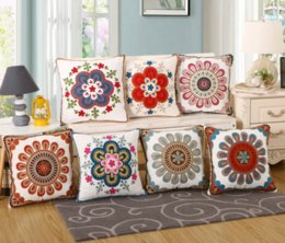 Wholesale Embroidered Sofa Fabrics - 2018 According to Yue Wei cotton towels embroidered pillow cushion sofa cushions home fabric sun flower