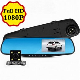 "Wholesale Video Camera Mirror - Car Dvr Mirror Camera 4.3"" Lens Dash Cam Recorder Full HD 1080P night vision Rearview two dual Cameras Parking Rear View Video"