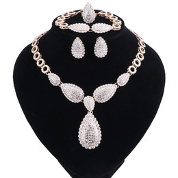 Wholesale American Advance - Advanced Accessories Gold Color Clear Austria Crystals Water Drop Pendant Necklace Earrings Bracelet Ring Jewelry Sets
