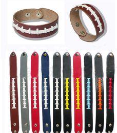 Softball Beisebol Esporte Pulseira pulseira de esportes pulseira de softball pulseira com costura vermelha e Snap esportes DHL Shippings de Fornecedores de brinquedo de carro de madeira atacado