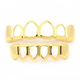 Apoyo dientes divertido online-Joyas de Hip Hop Parrillas dentales Divertido Hueco Rejillas de dientes de oro Los apoyos Los nuevos apoyos Dientes de oro / plata de Hip-hop para Halloween Fiesta de Navidad