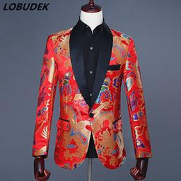 2020 abrigo formal de estilo de los hombres Chaquetas de traje de los hombres de estilo chino bordado retro rojo delgado Blazers Novio masculino vestido de boda Prom Formal anfitrión cantante traje rebajas abrigo formal de estilo de los hombres