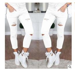 Argentina Mujeres Moda Algodón Agujero Lápiz Pantalones Flaco Nueve Puntos Pantalones de Cintura Alta Pantalones Vaqueros Elásticos Lápiz Delgado Pantalones Capris Suministro