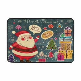 Wholesale thick bathroom rugs - Flannel Bath Mats New Design Merry Christmas Cute Santa Claus& Gifts Printed Floor Rugs Rectangle Thick Coral Velvet Bath Mat