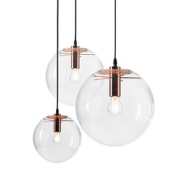 Wholesale clear glass ball pendant lights - GZMJ Modern Nordic Rose Gold Black Glass Ball Pendant Light Lamp Clear for Dining Room Bar Restaurant Suspension E27 LED Lamp