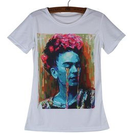 Camicia bianca a buon mercato collo rotondo online-Moda-economici Moda Tees Frida Kahlo Magliette poliestere Donna Bianco T Shirt manica corta girocollo Tops Donna Abbigliamento Camisetas S-2xl