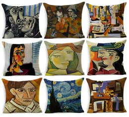 Wholesale Picasso Print Abstract - 10 Styles Pablo Picasso Famous Paintings Cushion Covers The Starry Night Surrealism Abstract Art Cushion Cover Decorative Linen Pillow Case