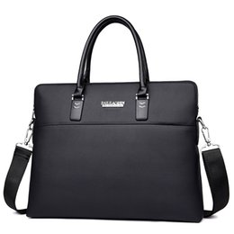 Wholesale Office Works Computers - Wholesale-mens black leather office bag brown man briefcase laptop crossbody work notebook computer bags for men business bolsa masculina