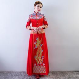 Традиционное китайское платье красный с длинным рукавом Cheongsam вышивка восточные платья Qipao свадебные приглашения халат костюм дракона от