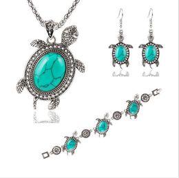 Wholesale Little Girls China - New Vintage Tone Animal Tortoise Necklace Jewelry Sets Blue Stone Earrings Bracelets Women Little Turtle Accessories