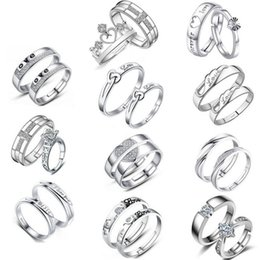 Wholesale wedding ring 18 - New 18 Designs Sliver Plated Lovers Couple Rings Men Women Luxury Jewelry Adjustable Ring for Valentine's Day Wedding