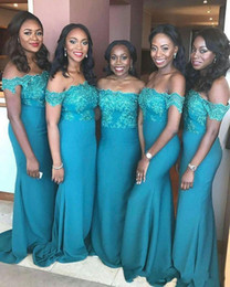 Wholesale Teal Long Sleeve Satin Dress - 2018 Sexy Teal Blue Mermaid Bridesmaid Dresses Off Shoulder Lace Applique Sheath Sweep Train African Cheap Wedding Guest Maid of Honor Gowns