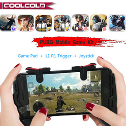 Free Fire Fortnite PUBG Móvel Gamepad L1R1 Botão Joystick Telefone PUGB Game Pad Kit Controlador L1 R1 Trigger para iPhone Android cheap game pad for iphone de Fornecedores de almofada do jogo para o iphone