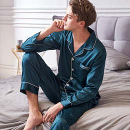6a87481236 Xifenni Faux Silk Pajamas Male 2018 Autumn New Silky Ice Silk Sleepwear Man  Long-Sleeve Solid Color Pajama Sets 9002