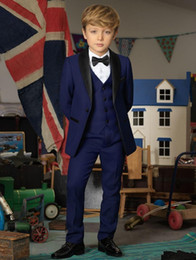 Wholesale Boys Navy Suit Jacket - Handsome Cheap Navy Blue Boys Tuxedo Boys Dinner Suits Custom Made Tuxedo for Kids Tuxedo Formal Occasion Suits For Men (Jacket+Pants+Vest)