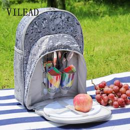 Wholesale Multifunctional Tableware - VILEAD 40*29*19cm Portable Multifunctional Picnic Bag with 2 Person Tableware Knife Fork Spoon Pokal Double Shoulders Packsack