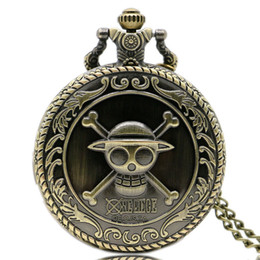 Peças de relógio de bolso on-line-Vintage Bronze Clássico Japonês Animate Pirata Crânio One Piece Quartz Relógio Dos Desenhos Animados Relógio de Bolso Pingente de Presente das Crianças P312