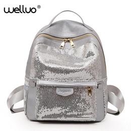 04d378d43aac оптовые продажи Мода Sequins Рюкзак Женщины Bling блеск Дикие кожаные  рюкзаки Подросток девочек школьные сумки Дорожная сумка mochila XA320WB