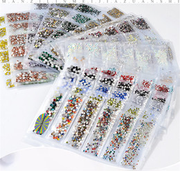 2019 tipos de unhas de acrílico 20 cores planas de vidro de cristal prego strass tamanhos mistos SS4-SS16 Nail Art Decoração Pedras Jóias Brilhantes Manicure Acessório 10 conjunto