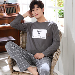 Hot Sale WAVMIT 2018 Men Pajamas Long Sleeve Spring Autumn Winter Male Pajama  Set Men Pure Cotton Pajamas for Set Sleepwear 8beee825f