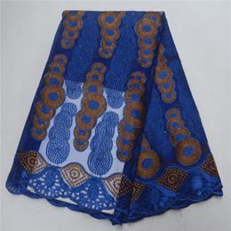 schönheit stoff blau Rabatt Hochwertige Afrikanische Schnürsenkel Stoff Royal Blue Stickerei Mesh Spitze Für Nähen Schönheit Frauen Kleid Französisch Tüll Mit Steinen PSA328-3