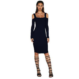 Wholesale Grey Sheath Knee Length Dress - Women Dress 2017 Fashion Autumn Winter Solid Sexy Off Shoulder Slash Neck Strap Backless Party Black Grey Long Sleeve Female Dresses