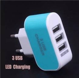 Wholesale Mobile Phone Travel Charger - 3 USB wall chargers Candy-colored LED travel adapter with triple USB port US EU home plug for mobile phone usb Chargers