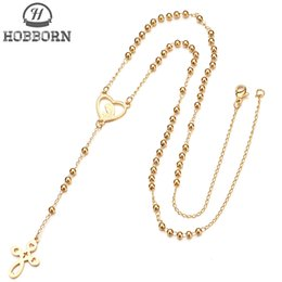 polished stainless necklace cross Promo Codes - HOBBORN Trendy Women Long Chain Necklaces 316L Stainless Steel High Polished Rosary Beads Virgin Mary Cross Female Necklace Gift
