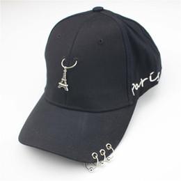 Wholesale Paris Snapback - 2018 new Romantic Paris Eiffel Tower Men Women Cap Punk Rivets Ring Hats embroidery letters Baseball Hat Cotton Snapback Hat Bone