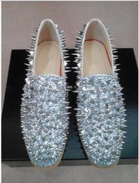 Wholesale Silver Spiked Loafers - 2018 Brand New Hot Sale Men Shinny Glitter Flat Shoes Gold Spike Men Loafers Slip On Rivets Prom Party Wedding Dress Shoes Silver Red Blue